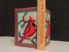 Crafts - CHM00232 - Handmade - plastic canvas tissue box cover - Cardinal