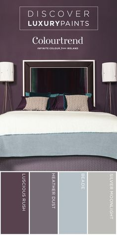 Go bolder in your bedroom! A dark palette makes for a bold yet inviting retreat. Beautifully marry light and dark design seamlessly with this palette from our Contemporary Collection. Designer Tip! Add a clever and subtle dash of attitude to your room by painting the skirting boards in the same colour as your walls, using Colortrend's Gloss Finish. The differing sheen levels of the same colour will unite the room and give another layer of depth to the design.