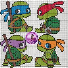 Cute idea for Cross-stitch Baby Ninja Turtles. no color chart available, just use pattern chart as your color guide. TMNT perler bead pattern by Drayzinha Cross Stitch Baby, Cross Stitch Charts, Cross Stitch Patterns, Hama Beads Patterns, Beading Patterns, Embroidery Patterns, Knitting Patterns, Crochet Patterns, Cross Stitching