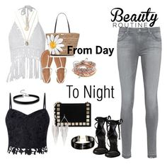 """""""From day to night"""" by babis117 ❤ liked on Polyvore featuring AG Adriano Goldschmied, Aéropostale, Lipsy, Schutz, Kate Spade, Tomasini, Jules Smith and Forever 21"""