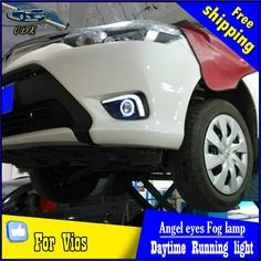 232.65$  Watch here - http://alilr2.worldwells.pw/go.php?t=32749507687 - CDX car styling angel eyes fog light  for toyota Vios 2014-2015 turn signal yellow DRL+ LED Angel eyes for fog lamp Accessories 232.65$