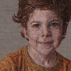 Photorealistic Portrait Hand-Embroidered by Cayce Zavaglia