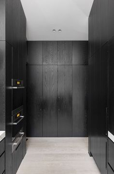 black floor to ceiling kitchen cabinetry