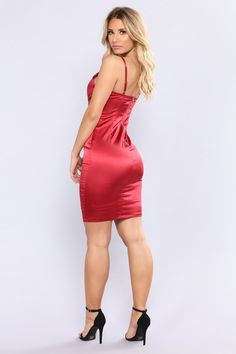 Available In Burgundy,Hunter Green, And Black Satin Dress Padded Adjustable Straps Zipper Back 96% Polyester 4% Spandex