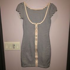 Black and white striped juicy couture dress small Gently used. Zips all the way in the back Juicy Couture Dresses