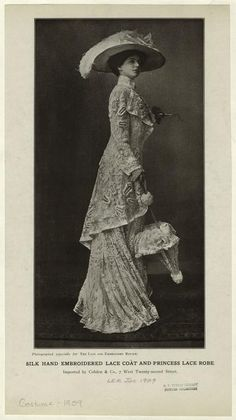 """""""Silk hand embroidered lace coat and princess lace robe"""", The Lace and Embroidery Review, 1909; NYPL 816432"""