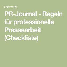 PR-Journal - Regeln für professionelle Pressearbeit (Checkliste)