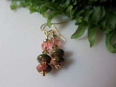 Unakite and Swarovski Crystal Earrings by IBKcreations on Etsy, $18.95
