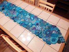 "Freeform crochet table runner 17""X72"" Yarns used all metallic or metallic blends Questions: wendycapri@gmail.com"