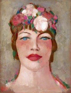 Girl in Flowered Hat, 1959 by John Duncan Fergusson (Scottish 1874–1961)