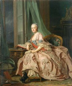 ♔ Anastasia Ivanovna, Countess of Hesse-Homburg, Princess Trubetskaya (1700–1755), painted by Alexander Roslin, wearing a pink silk sack-back gown and petticoat. 1757.