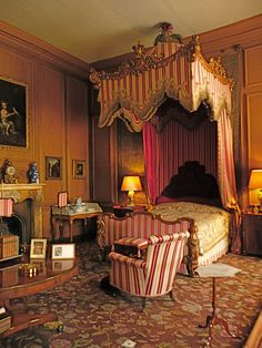 Belton House ~ the Queen's Bedroom where Queen consort Adelaide stayed during her widowhood.  (Adelaide Amelia Louise Theresa Caroline; 13 August 1792 – 2 December 1849) was the queen consort of the United Kingdom and of Hanover as spouse of William IV of the United Kingdom. Adelaide, the capital city of South Australia, is named after her.