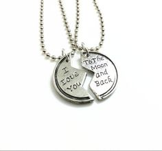 """2pcs Couples Necklace Set """"I Love You to the Moon & Back"""" Pendant Ball Chain #Unbranded #Pendant"""