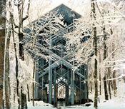 Thorncrown Chapel in winter