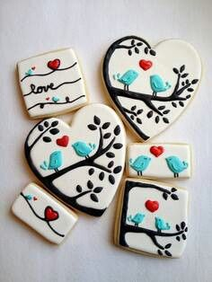 Love birds on a tree branch decorated cookies