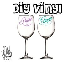 VINYL DECAL DIY Color Initial Names And Date Decals For - Wine glass custom vinyl stickers