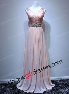 A-line/Princess V-Neck Sweep Train Lace Chiffon Evening Gowns With Beading Sequins Ruffles