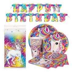 Amazon.com: Deluxe Lisa Frank Rainbow Majesty Unicorn Birthday Party Supplies Pack - Serves 16: Toys & Games