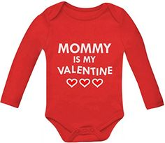Mommy Is My Valentine Bodysuit Mothers Day Gift Baby Long Sleeve Onesie 12M Red