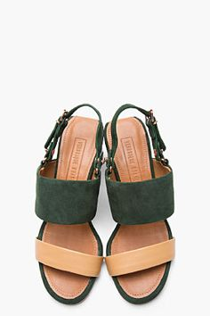 VERONIQUE BRANQUINHO Green and tan suede and leather Sandals