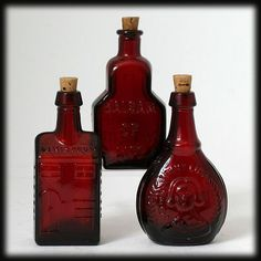 Wheaton Ruby Red Bitters Bottles Miniature Vintage Art Glass