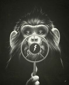 On Air cool monkey art print illustration poster balck and white