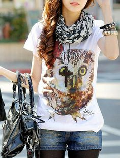 Casual Scoop Neck Owl and Heart Print Short Sleeves T-shirt For Women Turtleneck T Shirt, Sammy Dress, Heart Print, Summer Wear, Fashion Outfits, Womens Fashion, Autumn Winter Fashion, Style Me, Cute Outfits