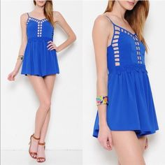 Spotted while shopping on Poshmark: 🆕The ARABELLA cut out daisy romper - BLUE! #poshmark #fashion #shopping #style #Bellanblue #Pants