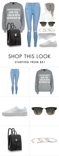 """""""Style #11544"""" by vany-alvarado ❤ liked on Polyvore featuring New Look, Private Party, Puma, Ray-Ban and Gorjana"""