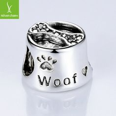 High Quality Silver Woof Paw Prints Bone Charm Beads Fit Original Pandora Bracelet Bangle For Women DIY Jewelry Free Shipping