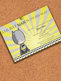 PRINTABLE INVITATION, Little batman Baby Shower invitation , Batman Baby shower