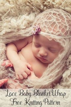 Free Knitting Pattern - An elegant lace baby blanket or newborn wrap. Super easy and great for beginners. Makes a beautiful new baby gift or a pretty photo prop. By Posh Patterns.