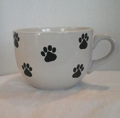 Adorable Puppy Paw Print Coffee / Hot Chocolate Cup / Mug Large Shipping ONLY ONE Dollar in Canada and USA, by LouisandRileys on Etsy