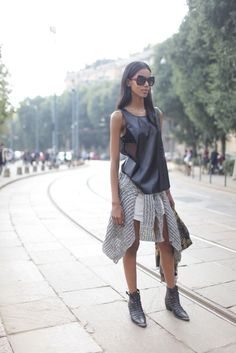 Leather and mesh on the streets of Milan Fashion Week. Achieve this look with our Kirke Top. http://www.saxony.com.au/womens/tops/kirke-top.html