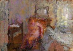 RA Summer Exhibition 2015 work 226 :TRYING ON STOCKINGS by Bernard Dunstan RA, £7000.