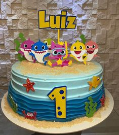 Boys 1st Birthday Party Ideas, Blue Birthday Parties, Birthday Party Decorations Diy, 1st Boy Birthday, Shark Birthday Cakes, Mickey Mouse Birthday, Birthday Cake Toppers, Shark Cake, Baby Boy Cakes