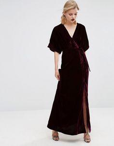 ASOS | ASOS - Robe longue en velours boutonnée