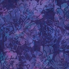 Blue Purple Flower Cotton Batik Fabric