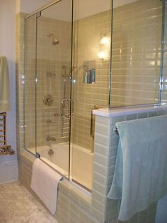 During the second-story renovation of this 1874 Victorian farmhouse, modern system updates are combined with historic preservation and restoration. Bathtub Shower Doors, Glass Bathtub, Bathtub Shower Combo, Bathroom Renos, Small Bathroom, Bathrooms, Bathroom Ideas, Bathtub Makeover, Bathtub Enclosures