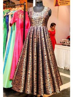 Customized partywear gowns Choices on fabric, design and size is available. Indian Gowns Dresses, Brocade Dresses, Frock Design, Indian Designer Outfits, Indian Outfits, Designer Dresses, Kurta Designs, Stylish Dresses, Fashion Dresses