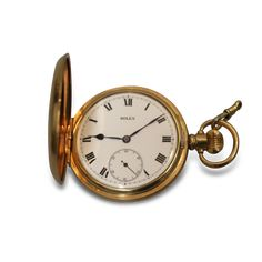 Lot 90 |  ROLEX POCKET WATCH   the circular Roman numeral dial with subsidiary second hand held in a Dennison Star gold plated case Roman Numerals, Second Hand, Swan, Pocket Watch, Rolex, Irish, Auction, Fine Art, Watches