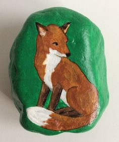 Sitting fox painted rock paperweight by AlisonsArt on Etsy