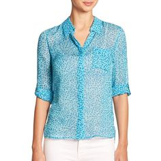 Diane von Furstenberg Lorelei Two Silk Shirt ($105) ❤ liked on Polyvore featuring tops, apparel & accessories, long sleeve shirts, sheer blue top, sheer shirt, blue silk shirt y blue shirt
