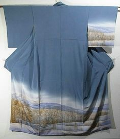 Japan,  houmongi kimono with a design of autumn scenery, which is dyed.