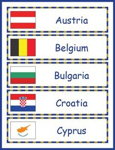 Europe Geography for Kids: Printable word wall with the names of European countries and their flags.