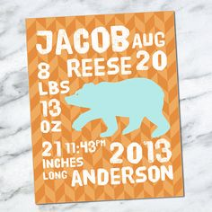 Custom Printable Download Birth Announcement Wall Art 8x10 - Baby Stats - Name Date Weight Length Time - Birth Info - Bear - Newborn CM3104