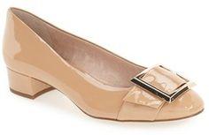 """An oversized decorative buckle adorns the roomy round toe of a low block-heel pump. <ul> <li>1 1/4"""" heel (size 8.5)</li> <li>Lightly padded footbed</li> <li>Leather upper/leather lining/synthetic sole</li> <li>By Louise et Cie; imported</li> <li>Women's Shoes</li> </ul>"""
