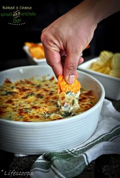 Life Scoops: Irresistible Baked 3 Cheese Spinach and Artichoke Dip @Sheila Mallard George