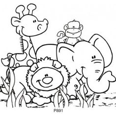 Jungle Animal Friends Animal Coloring Pages Cute Animal Clipart Animal Templates