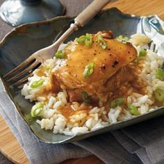 This simple chicken dish becomes a whole lot more savory when stuck in a slow cooker. The sweet juice mixture gives the chicken its undeniably delicious flavor. Serve over hot cooked rice. Evening Meals, Chicken Stuffed Peppers, Glazed Chicken, Slow Cooker Recipes, Crockpot Recipes, Chicken Recipes, Easy Recipes, Crock Pot Soup, Slow Cooker Chicken